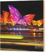Vivid Sydney By Kaye Menner - Opera House ... Triangles Wood Print