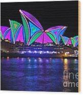 Vivid Sydney By Kaye Menner - Opera House... Patterns 2 Wood Print