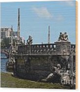 Vizcaya Breakwater Ship Footbridge And Skyline Biscayne Bay Miami Florida Poster Edges Digital Art Wood Print
