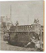Vizcaya Breakwater Ship Footbridge And Skyline Biscayne Bay Miami Florida Vintage Digital Art Wood Print