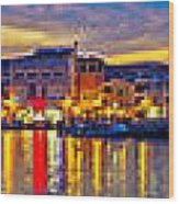 Vodice Waterfront Colorfu Evening Panorama Wood Print