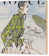 Vogue Cover Featuring A Woman Carrying Luggage Wood Print