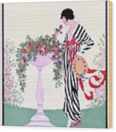 Vogue Cover Featuring A Woman Smelling A Rose Wood Print