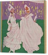 Vogue Cover Featuring Two Women In Pink Gowns Wood Print