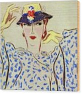 Vogue Cover Illustration Of A Woman Wood Print