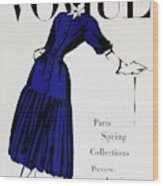 Vogue Cover Illustration Of A Woman Wearing Blue Wood Print