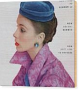 Vogue Cover Of Suzy Parker Wood Print
