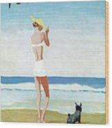 Vogue Magazine Cover Featuring A Woman On A Beach Wood Print