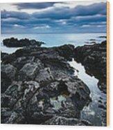 Volcanic Coastline And Cloudy Sunset Wood Print