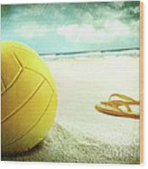 Volleyball In The Sand With Sandals Wood Print