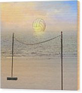 Volleyball Sunset Wood Print