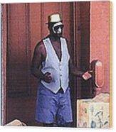 Voodoo Busker In New Orleans Wood Print