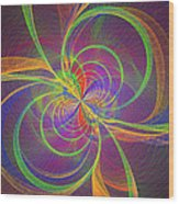 Vortex Abstract Digital Fractal Flame Art Wood Print