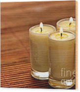 Votive Candle Burning Wood Print