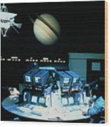 Voyager 1 Mission Control During Saturn Encounter Wood Print