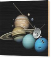 Voyager 2 And Planets Wood Print