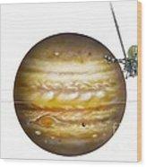 Voyager Spacecraft And Jupiter, Artwork Wood Print