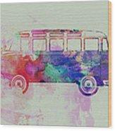 Vw Bus Watercolor Wood Print