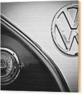 Vw Emblem Black And White Wood Print