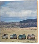 Vws Lined Up Under A New Mexico Sky Wood Print
