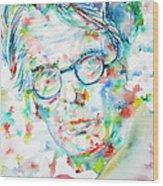 W. B. Yeats  - Watercolor Portrait Wood Print