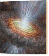 W33a Protostar Accretion Disc, Artwork Wood Print