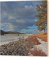 Wachusett Reservoir Frozen Wood Print