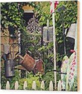Wacky Watering Can Garden Wood Print