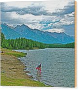 Wading In Johnson Lake In Banff Np-alberta Wood Print