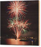 Wading View Of Fireworks Wood Print