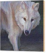Wading Wolf Wood Print