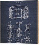 Waechtler Snare Drum Patent Drawing From 1910 - Navy Blue Wood Print