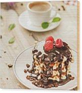 Waffles With Raspberry, Chocolate Sauce Wood Print