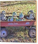 Wagon Full Of Frogs Wood Print