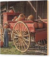 Wagon Full Of Pumpkins Wood Print