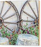 Wagon Wheel Flowers Wood Print
