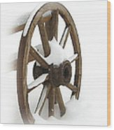 Wagon Wheel In Snow Wood Print