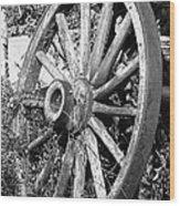 Wagon Wheel - No Where To Go - Bw 01 Wood Print