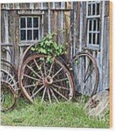 Wagon Wheels In Color Wood Print by Crystal Nederman
