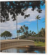 Waialae Beach Park Bridge Too Wood Print