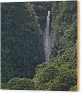 Wailua Stream Waiokane Falls View From Wailua Maui Hawaii Wood Print