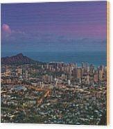 Waikiki And Diamond Head At Sunset Wood Print