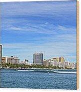 Waikiki And Diamond Head From The West Wood Print