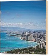 Waikiki Beach From Diamond Head Wood Print