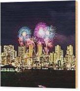 Waikiki Fireworks Celebration 2 Wood Print