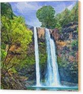 Wailua Falls Kauai Wood Print