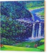 Waimea Falls - Horizontal Wood Print by Joseph   Ruff