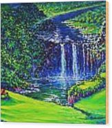 Waimea Falls Lv Wood Print by Joseph   Ruff