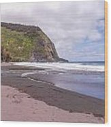 Waipio River Empties Into The Pacific Ocean Wood Print