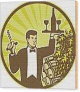 Waiter Serving Wine Grapes Barrel Retro Wood Print by Aloysius Patrimonio